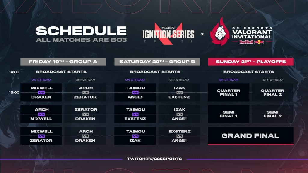 G2 Esports Valorant Invitational Schedule