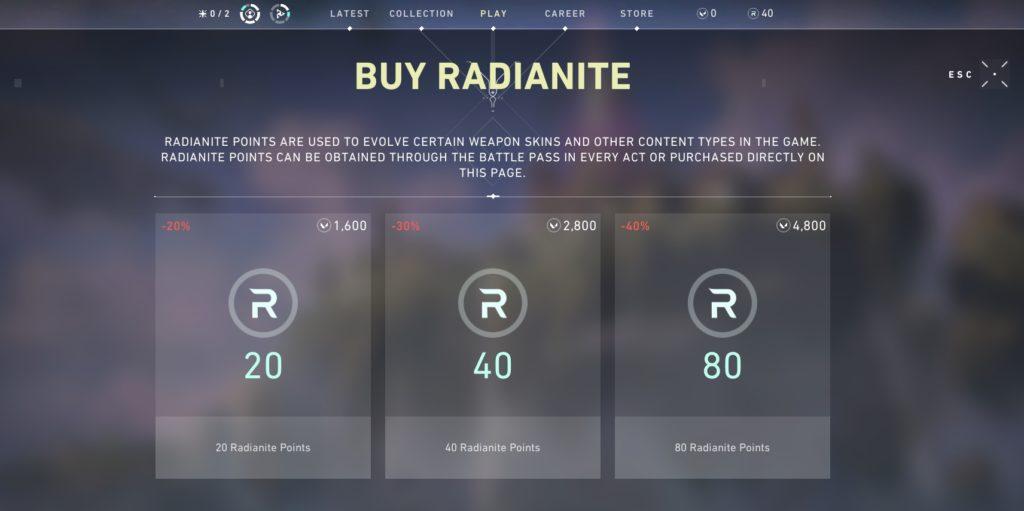 Radianite Points Valorant