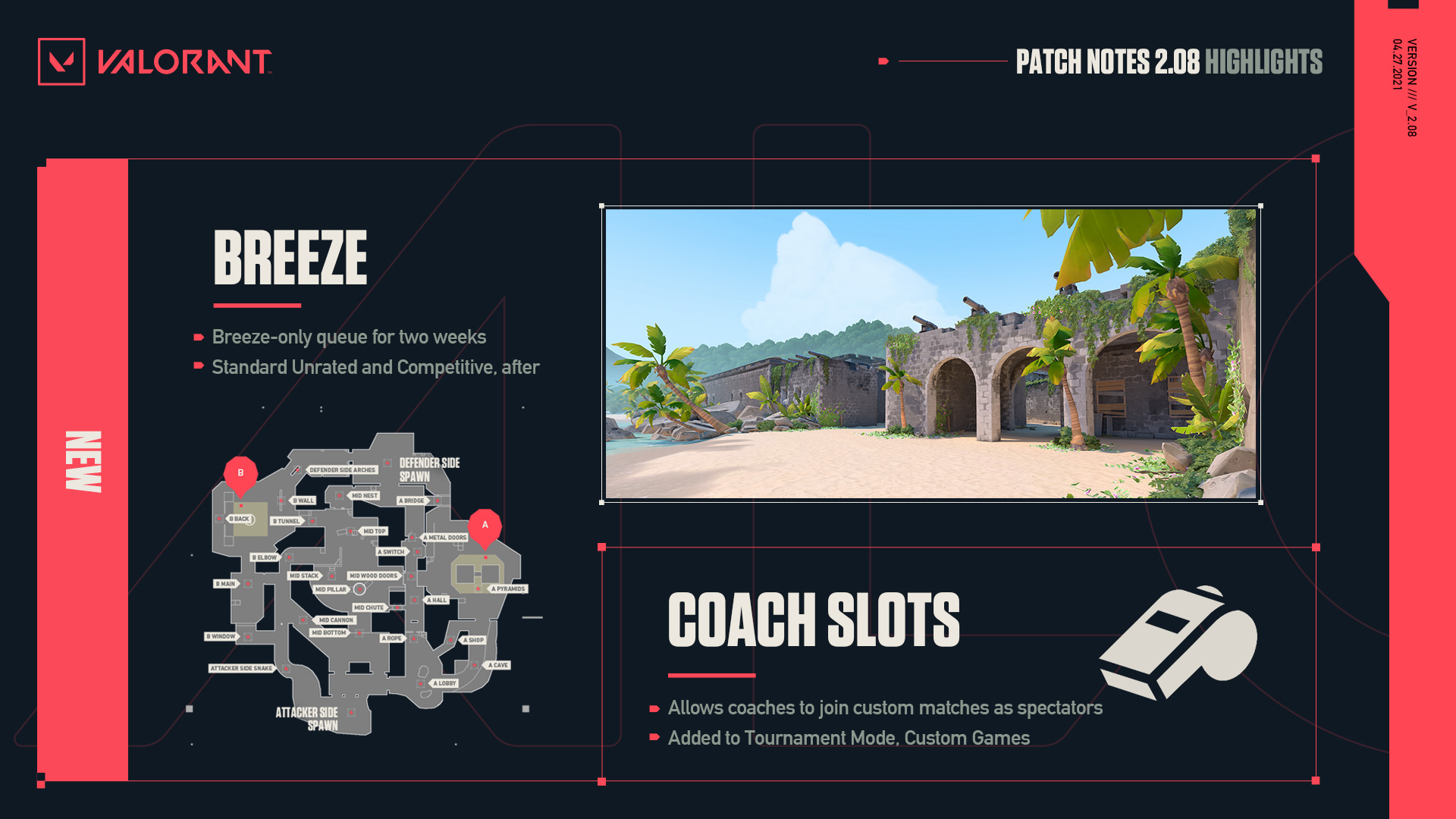 Valorant update 2.08 features a Breeze-only unrated queue and coach slots