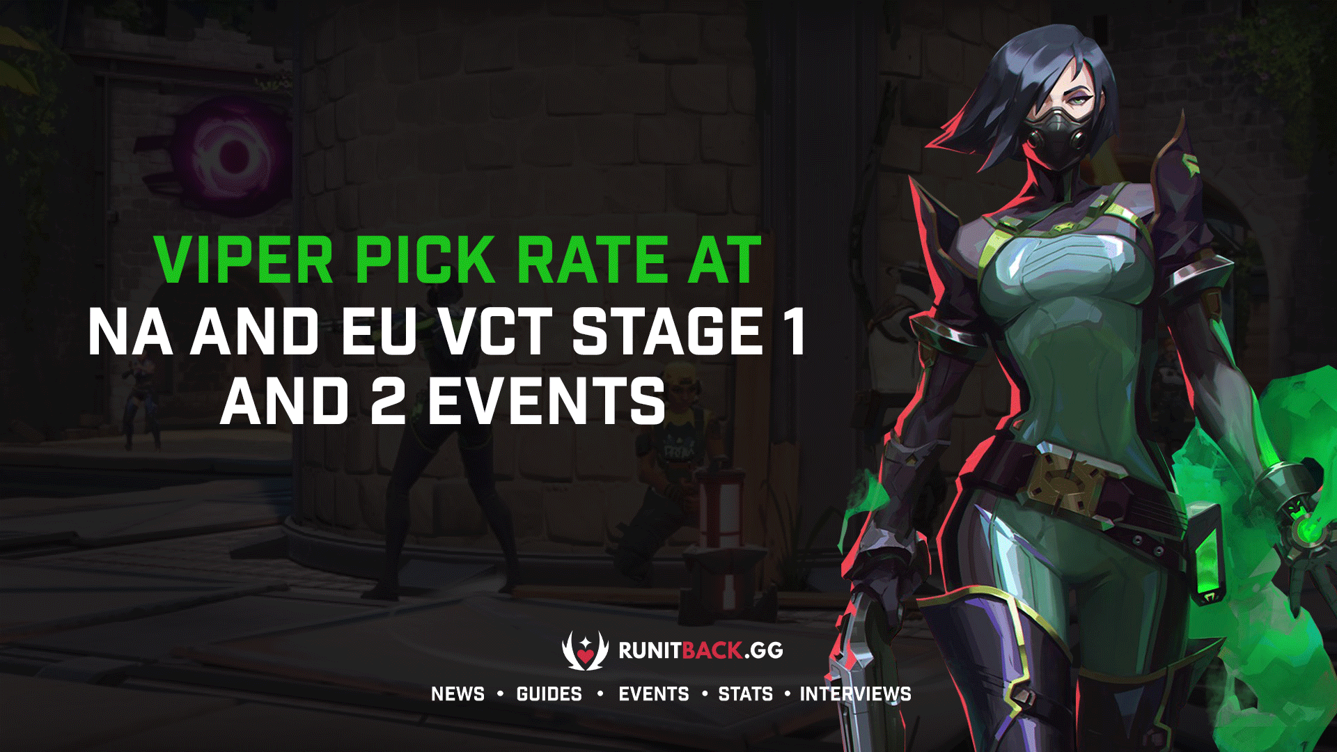 Viper pick rate at NA and EU VCT Stage 1 and 2 events